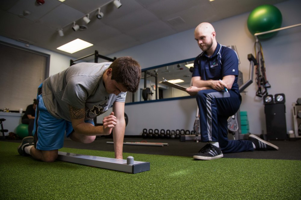 Adam, the personal trainer at OrthoCore Physical Therapy in North Kingstown, RI helps patients continue to build strength and get in better shaper after injuries.