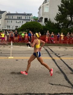 Rhode Island runner and OrthoCore patient Kaela O'Neil during one her marathon runs.