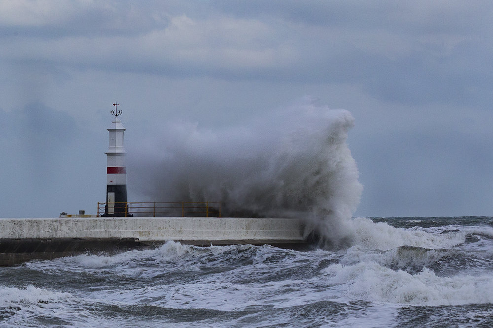 Ramsey Lighthouse taking a battering today