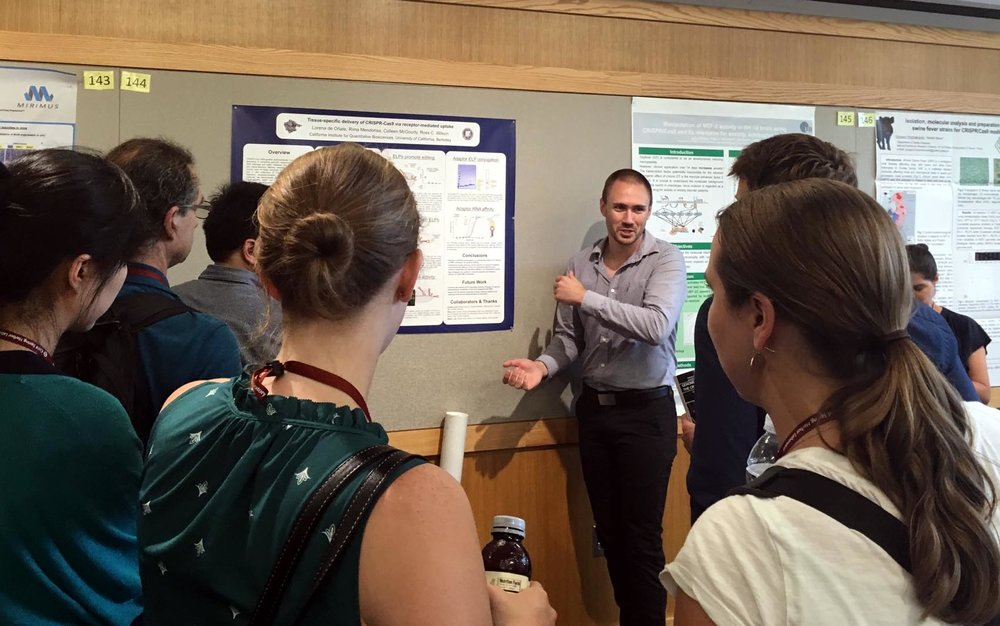 The poster session was scheduled dangerously soon after a lunchtime volleyball match, hence the overheating presenter.