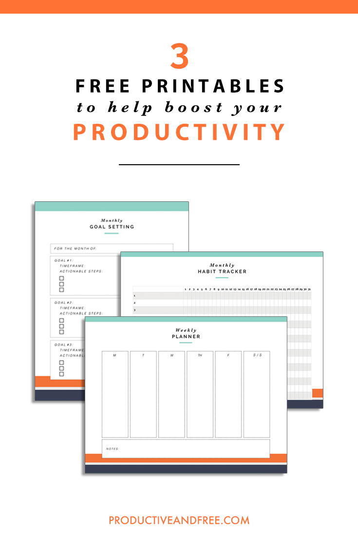 3 Free Printables for Productivity | ProductiveandFree.com