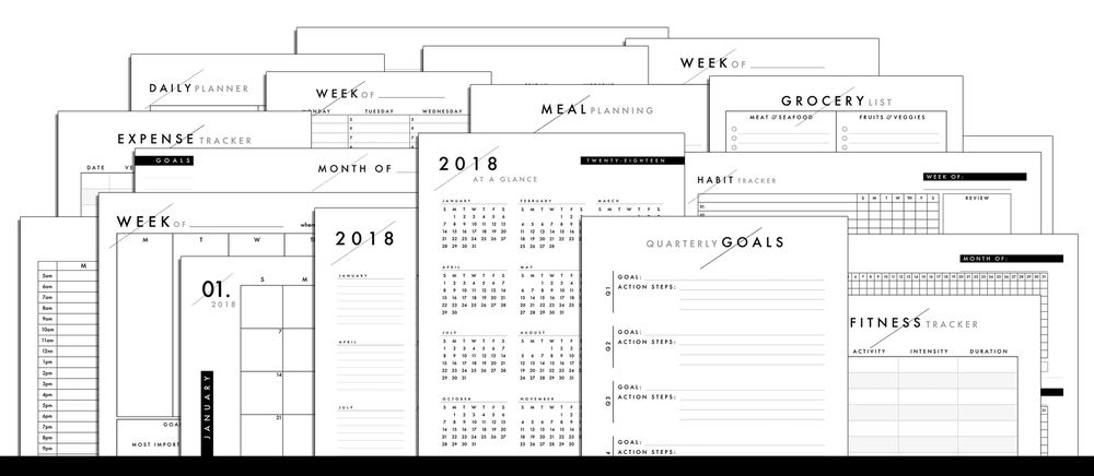2018 Printables | Productive and Free