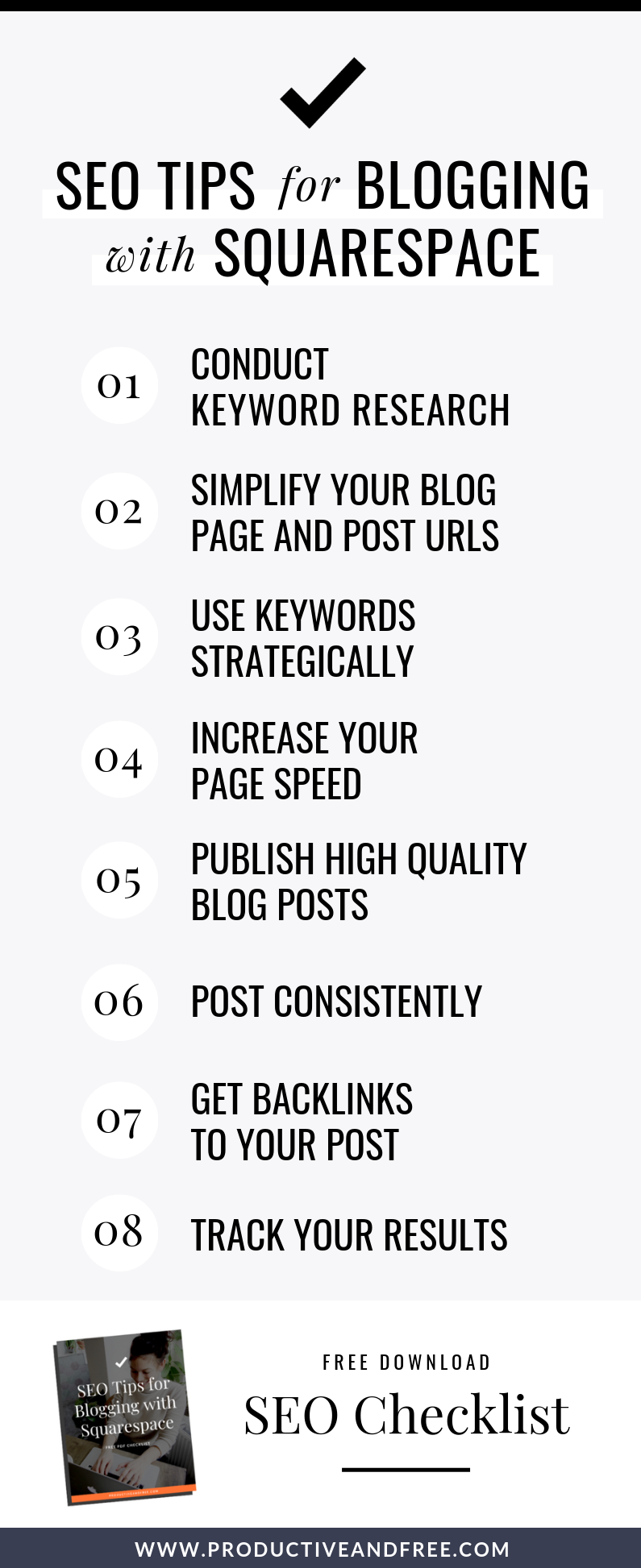 SEO Tips for Blogging with Squarespace (With Checklist) | Productiveandfree.com