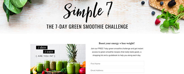 Simple Green Smoothies | Lead Magnet Example