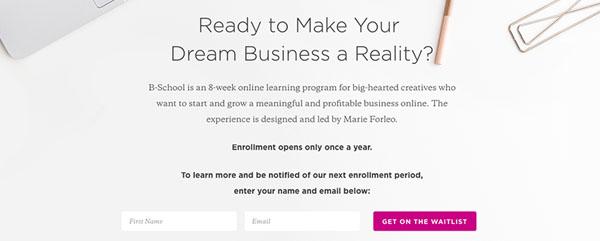 Marie Forleo's B-School | Lead Magnet Example