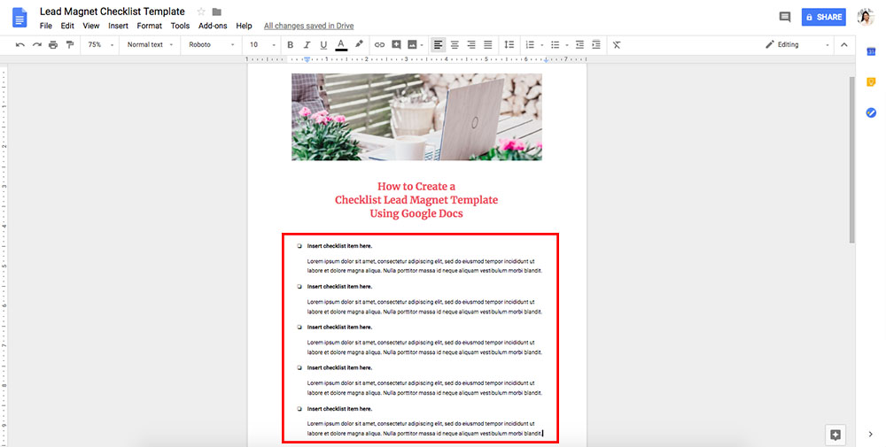 How To Create A Checklist Lead Magnet Template Using Google Docs