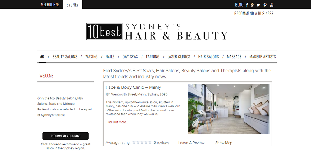 "Face & Body Clinic has been featured in multiple online articles for ""Top Salon In The Northern Beaches, & Best Tanning Studio in Sydney"""