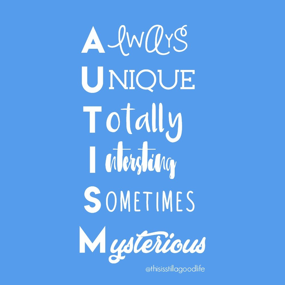 AUTISM Always Unique Totally Interesting Sometimes Mysterious - Autism Awareness Month Social Media Images