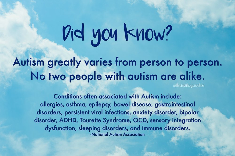 Autism Fact: no two people with autism are alike. Conditions associate with Autism - Autism Awareness Month Social Media Images