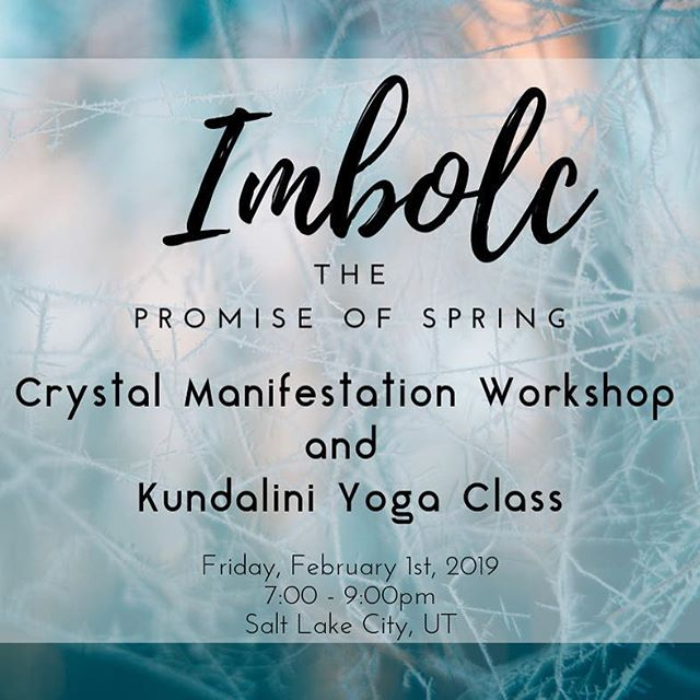 Hey Salt Lake Friends!! There's still a few spots left in my Crystal workshop and yoga class coming up on Feb. 1st! Link is in bio, I'd love to have you there! 💫  Imbolc (pronounced ihhm - olk, with a silent b) is the first of 8 Sacred festivals in the Pagan Wheel of the Year. It marks the middle point of the dark months; when seeds in the ground begin to grow and the light of the sun returns to give birth to a New Year.  Join me for a crystal manifestation workshop; learn to use crystals and an energy grid to bless your home for an abundant year. Then enjoy an invigorating yoga and breath-work class with food + refreshments to follow. $35 per person, includes: - 5 Ritual crystals - Manifestation crystal grid - Workshop and yoga class - Food! *Limited seating available, RSVP required.