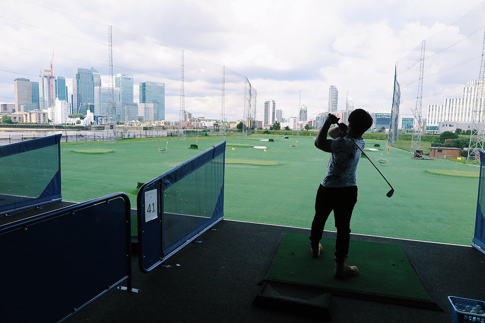 Amazing view at Greenwich Peninsula Golf Range, London