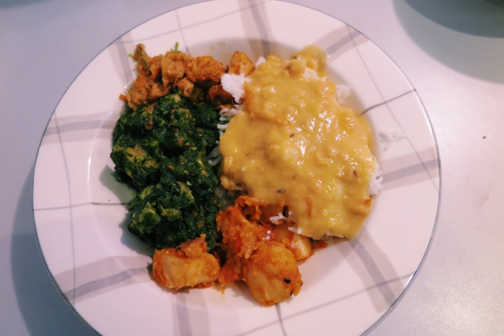 2.  Nepalese dal bhat (rice + lentils) with palak paneer (cheese + spinach) + aloo (potato) + chicken breasts / Akash's mom made this hehe