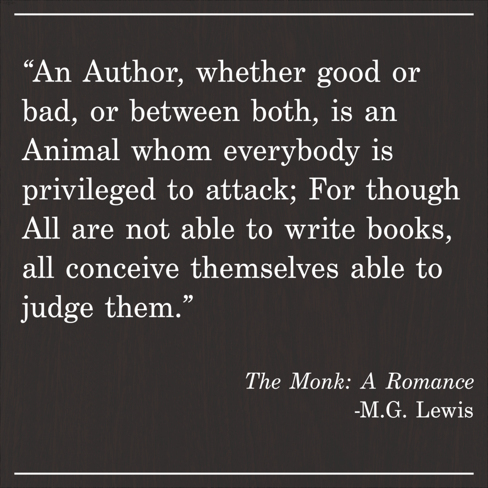 Daily Quote The Monk MG Lewis