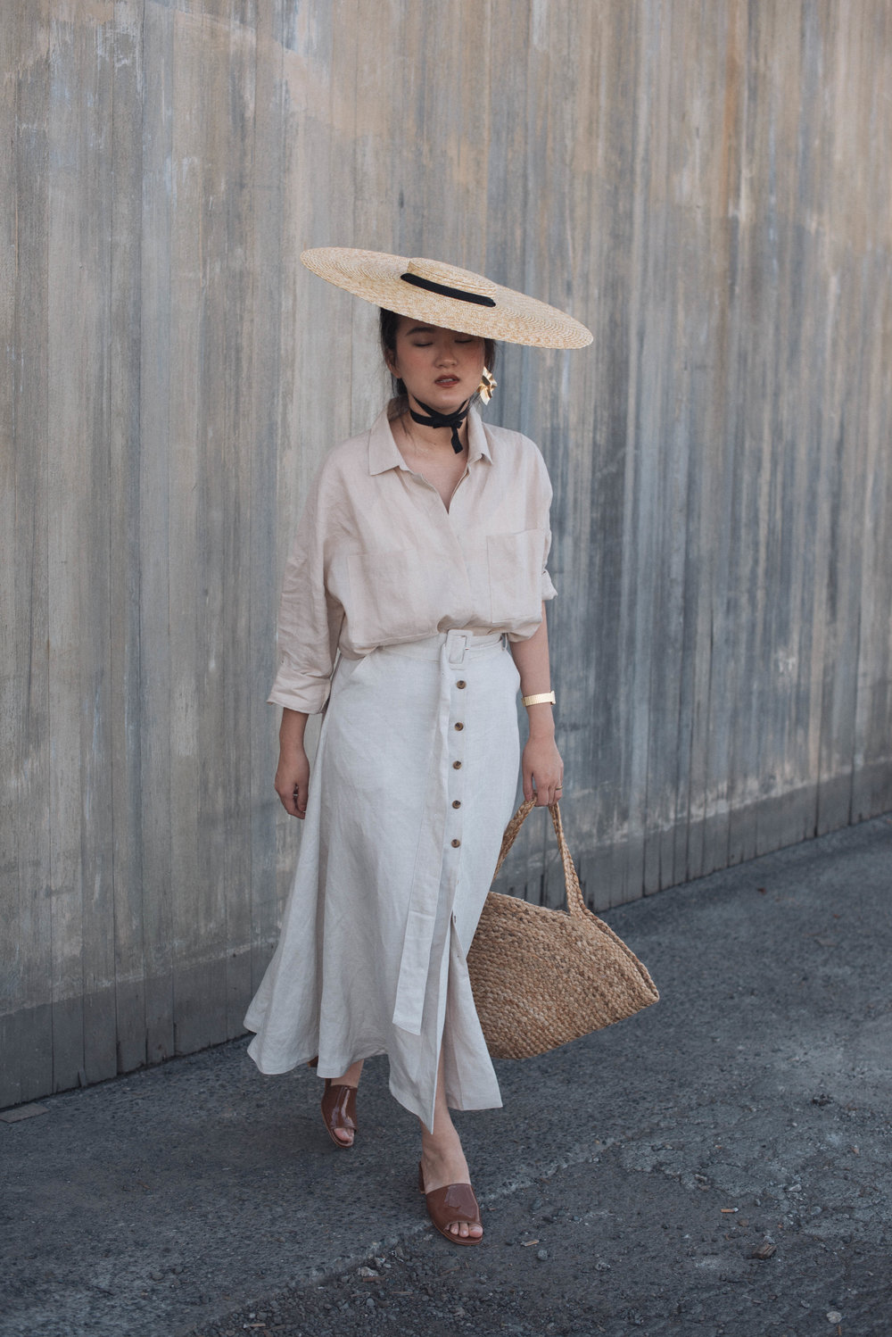 Hat - Jacquemus / Earring - Low Classic / Shirt & Skirt - unknown / Bag - unknown / Shoes - Maryam Nassir Zadeh