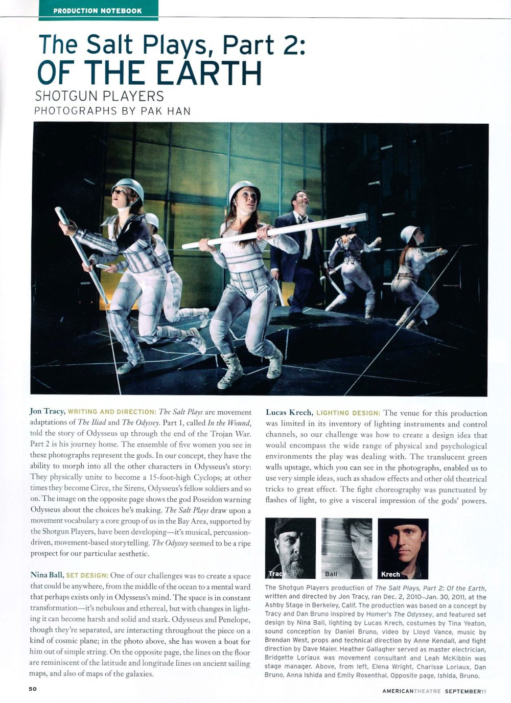 From American Theatre Magazine, September 2011 -