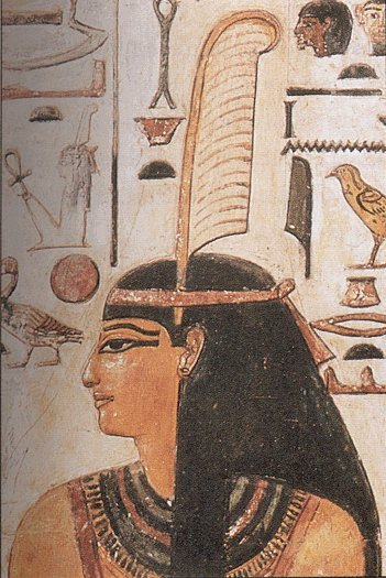 Maat, the Egyptian goddess of harmony, truth and justice, shown wearing the feather of truth.
