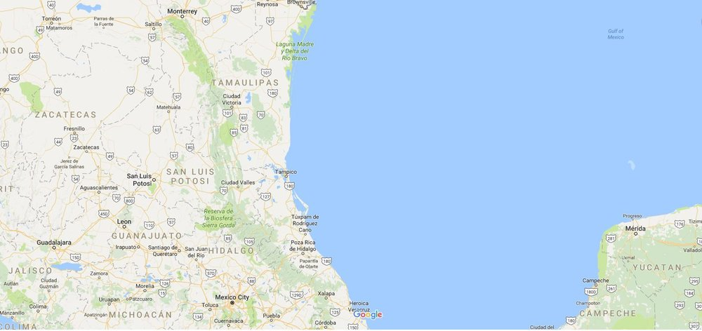 See Brownsville at the top and Puebla due south at the very bottom. The Yucatan Peninsula is to the east. Puebla was originally known as Puebla de los Angeles, but was changed to  Heróica Puebla de Zaragoza after the general's shocking defeat of the much larger French army.  Credit: Google Maps.