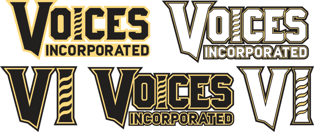 Logo variants were desired for displaying the chorus brand at various sizes and against different background colours, with all retaining the capital I barberpole icon denoting the barbershop vocal style.