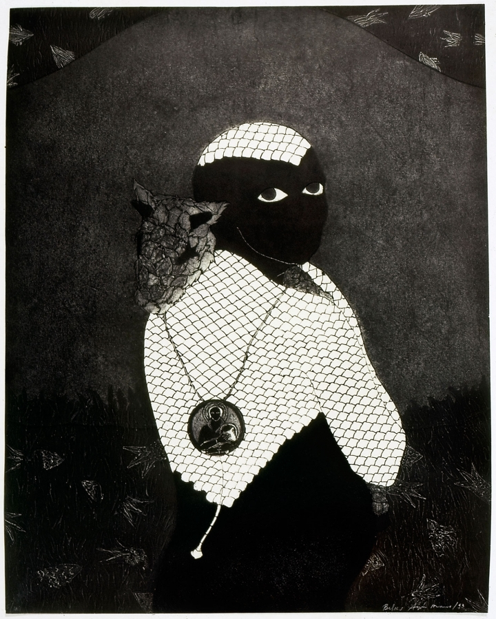 """Belkis Ayón, """"Sin título (Sikán con chivo) (Untitled (Sikán with Goat))"""" (1993), collograph, collection of the Belkis Ayón Estate."""