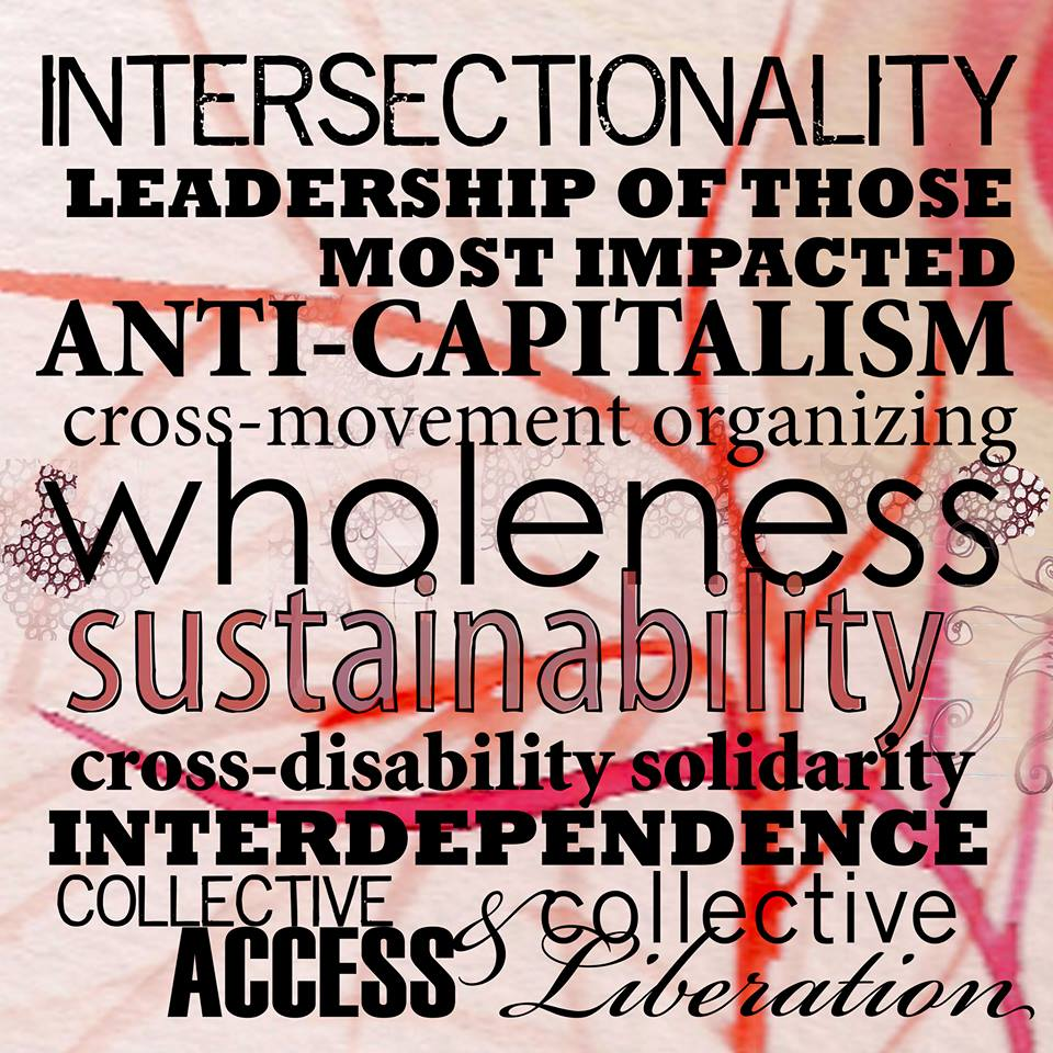 [image description: a pink and red abstract background with lines that look like veins has black words printed in different fonts covering the whole image. The words--with each concept in its own writing style--say: intersectionality, leadership of those most impacted, anti-capitalism, cross-movement organizing, wholeness, sustainability, cross-disability solidarity, interdependence, collective access, & collective liberation.]  image from Sins Invalid: https://www.facebook.com/sinsinvalid/photos/pcb.10153165516638985/10153165515298985/?type=3&theater