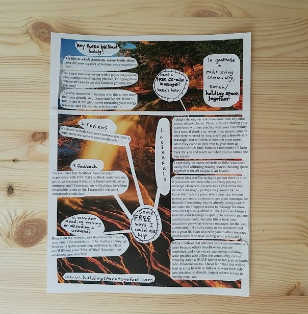 [Image description: a collaged, mind-map style newsletter that's clearly handmade resting on a wooden table. Some words are typed, and some are handwritten. Text in image is what is written in this post below.]