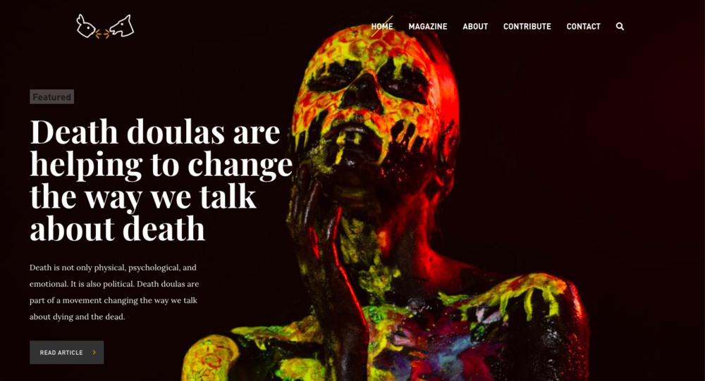 "[Image description: a screenshot of the homepage of www.urevolution.com. It has a striking layout with a black background and white text, and an androgynous person covered with bright paint splatters, looking mysterious and somber. The big text says, ""Death doulas are helping to change the way we talk about death""]"