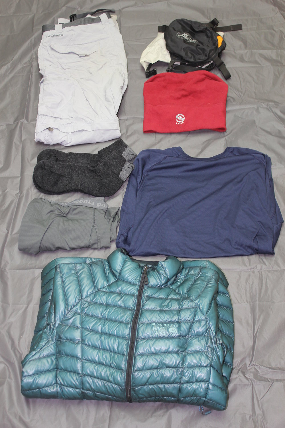 Columbia Zip-Off Pants  Patagonia Base Layers  Loki  Darn Tough Hike/Trek Socks  Sea-to-Summit Dry Sack