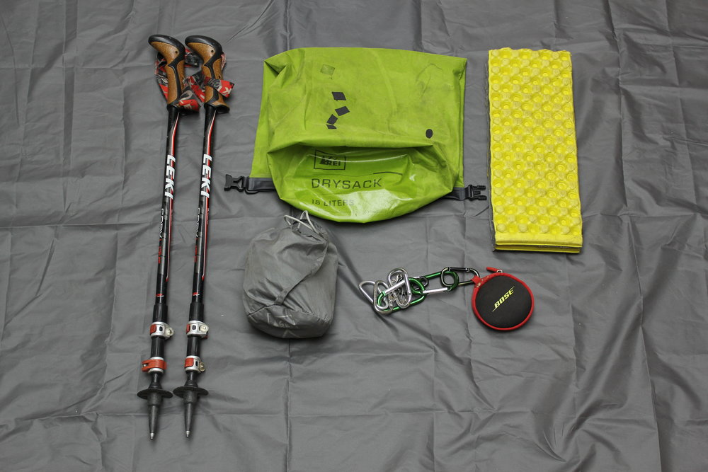 Leki Trekking Poles  REI Dry Sack - Food Bag  REI Pack Rain Cover  Bose SportSound Headphones  Cut Z-Lite Pad as Butt/Sitting Pad