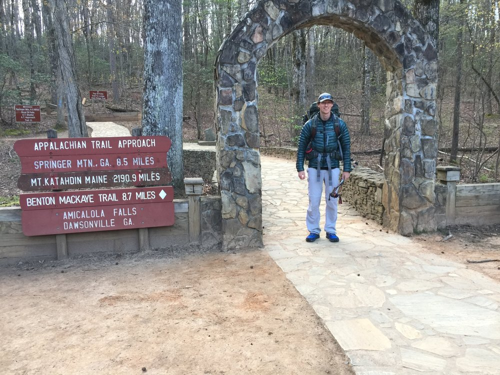 At Amicolola Falls state park, where the AT approach trail begins.