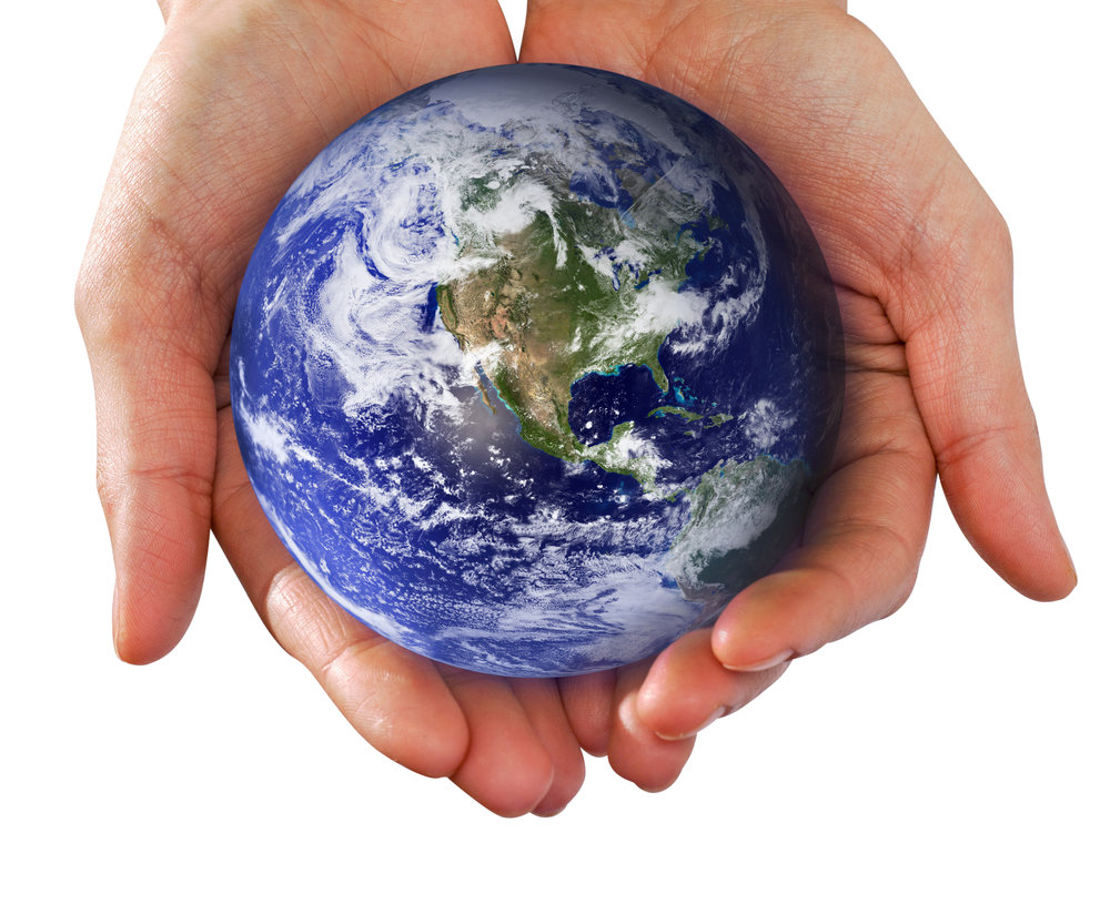 Human Hand Holding the World in Hands Human Hand Holding the World in Hands