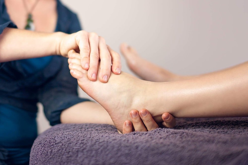 Reflexology applied to foot