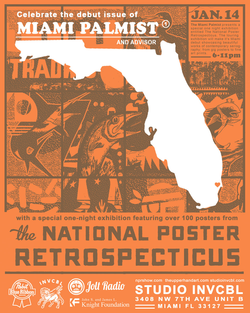 Jan. 14th / Join us for the National Poster Retrospecticus / Hosted by: Brian Butler at Studio INVCBL - 6 - 11pm