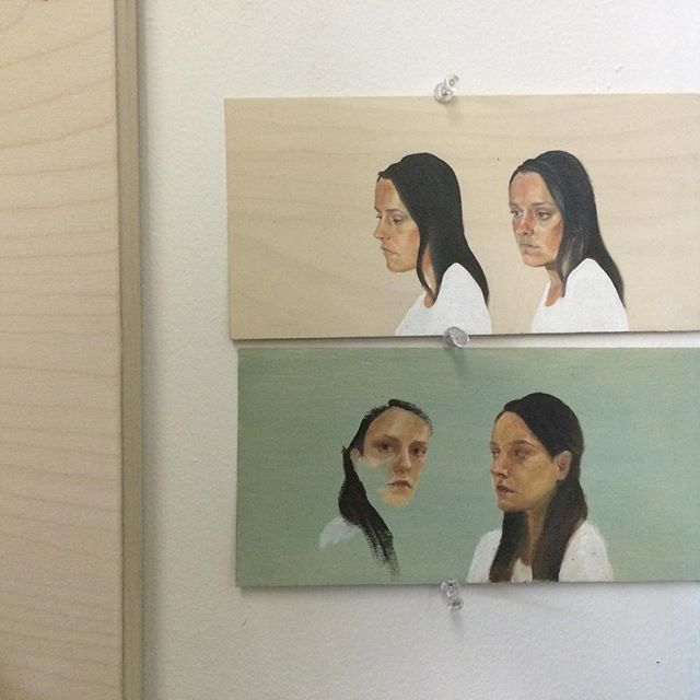Tiny studies #selfie . . . #Toronto #art #artist #painter #oilpainting #oil #portrait #tiny #brush #wood #panel #birch #kensington #oilpaint #painting #study #portraiture #fineart #selfstudy #charrette #studio #studiotime #studiolife #wip #life #psychology #duality #mind #mindset