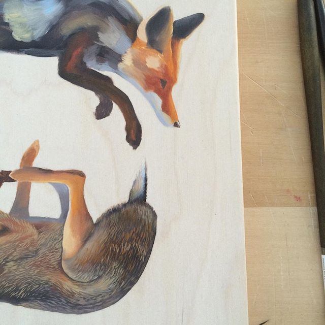 The chase!  #wip . . . #fox #hare #chase #painting #oil #underpainting #studio #artist #painter #illustration #toronto #art #artwork #woodpanel #kensington #oilpainting #oilpaint #animals #furry #wood #birch #prey #rabbit #bunny #circleoflife #paint #theotherwhitehouse