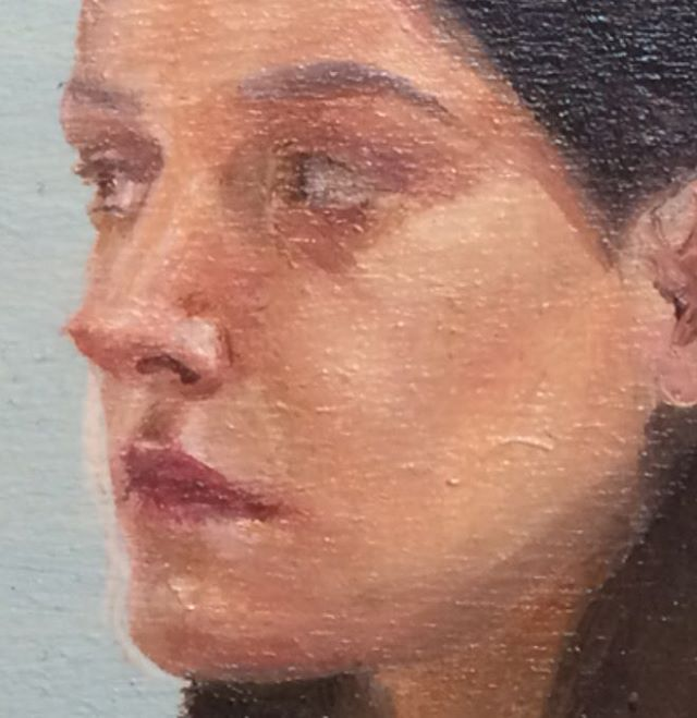One inch painting #sosmall #painting #study #portrait #oilpainting #art #tiny