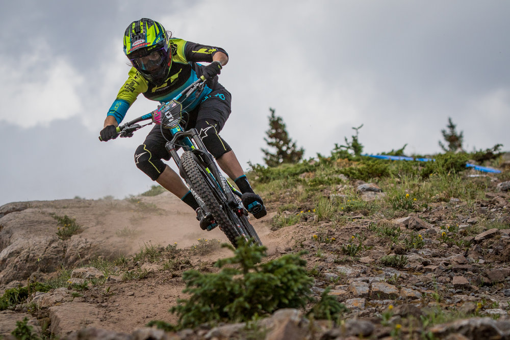 Anika Berkan, one of the top woman mountain bikers riding in the Enduro World Series. This event has taken place in Aspen the last 2 years. Being a fan and mountain biker my self I am jaw dropped by the talent some of these individuals posses. EWS 2017 on a new trail in Snomwass. The trail has no name.