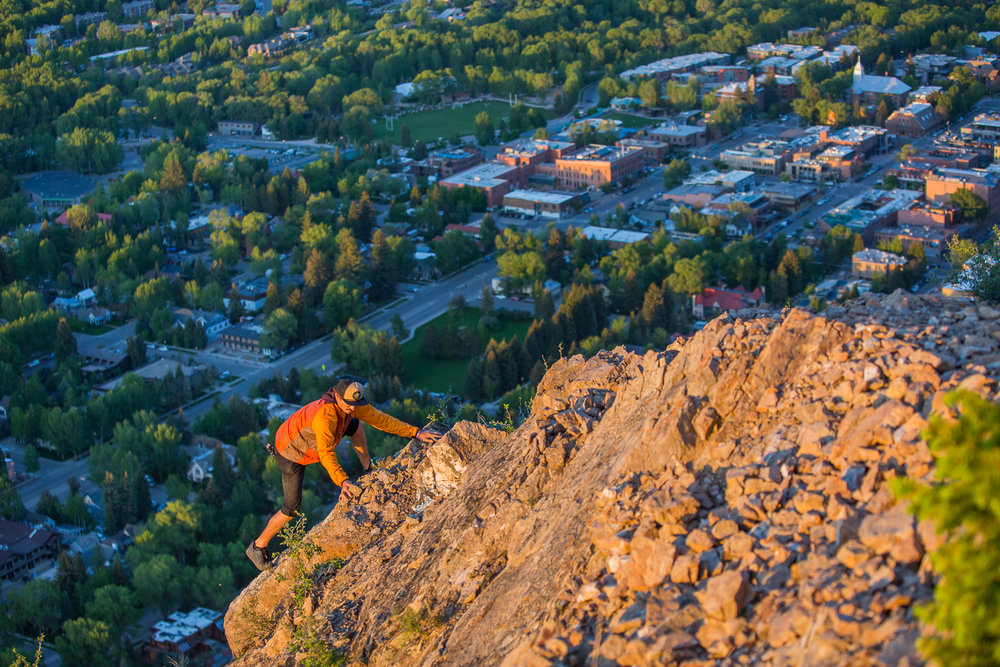 Scrambling up Shadow Mountain was no easy task. Specially for this first timer. I had done my research and was prepared with a few key items. I wearing proper hiking boots for the steep climb, I had leather gloves for the mining cable you use to assist you up 2/3rds the climb. However I managed to forget head lamps. Not import for a evening shoot with a decent on a new route into the inky black forest.  This particular section my friend Adam gets some exposure because he loves to work the shot.