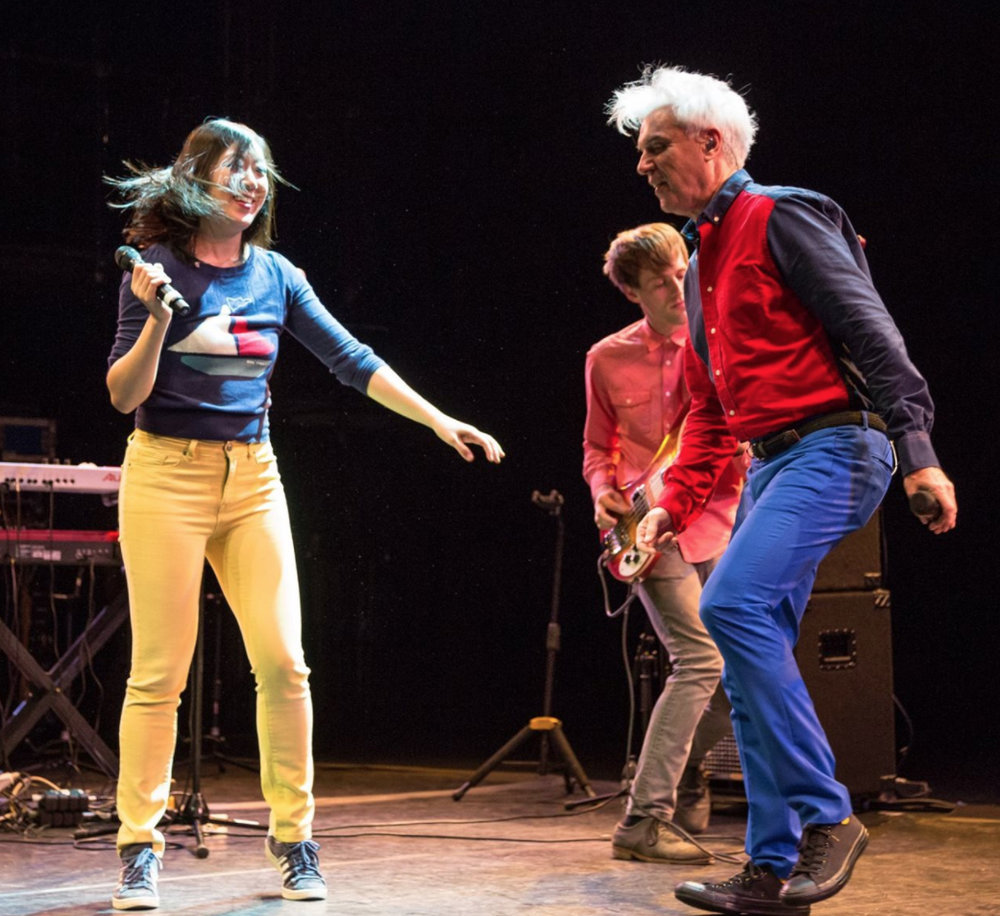 Andrew playing with David Byrne in London in 2015
