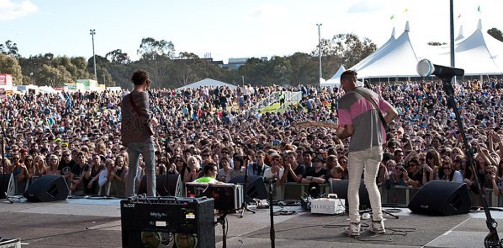 Andrew playing with Darwin Deez in Australia in 2011