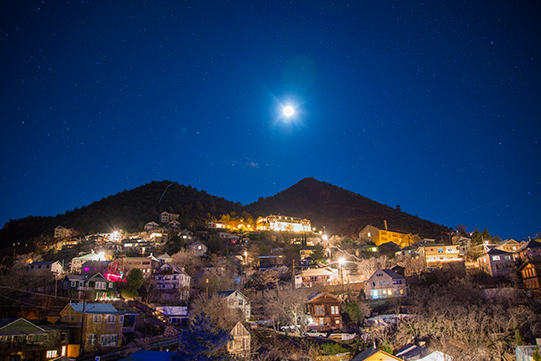 Jerome, Arizona by full moon. Long exposure photography by Lillian Short.