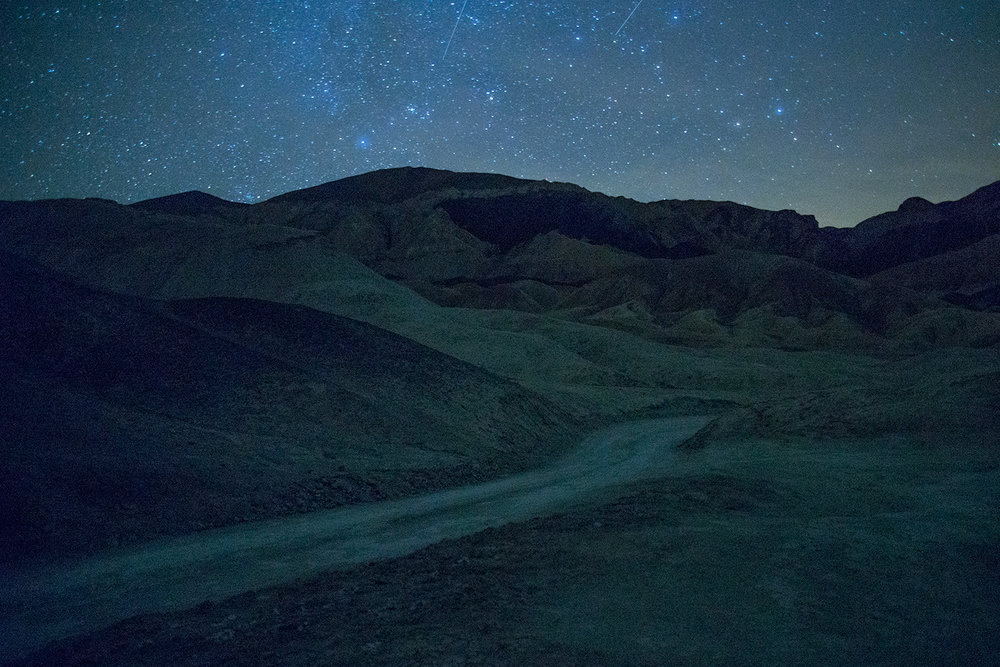 Death Valley National Park photographed on a warm night in March 2017. Photographed by Lillian Short.