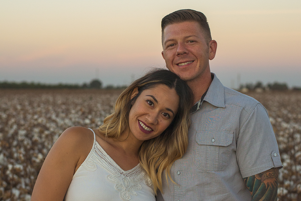 Mini portrait photo session in a cotton field with a beautiful family of three. Photographed by Lillian Short in September 2017 south of Fresno in Lemoore, California.