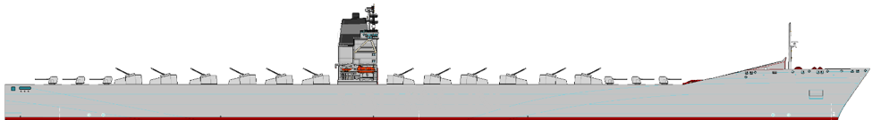 Figure 3: 170,000 ton 26kt Container Ship reimagined as a NSFS platform. VLS modules could be substituted for any of the 18 turrets.