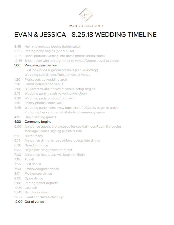 How To Create A Wedding Timeline Pacific Engagements