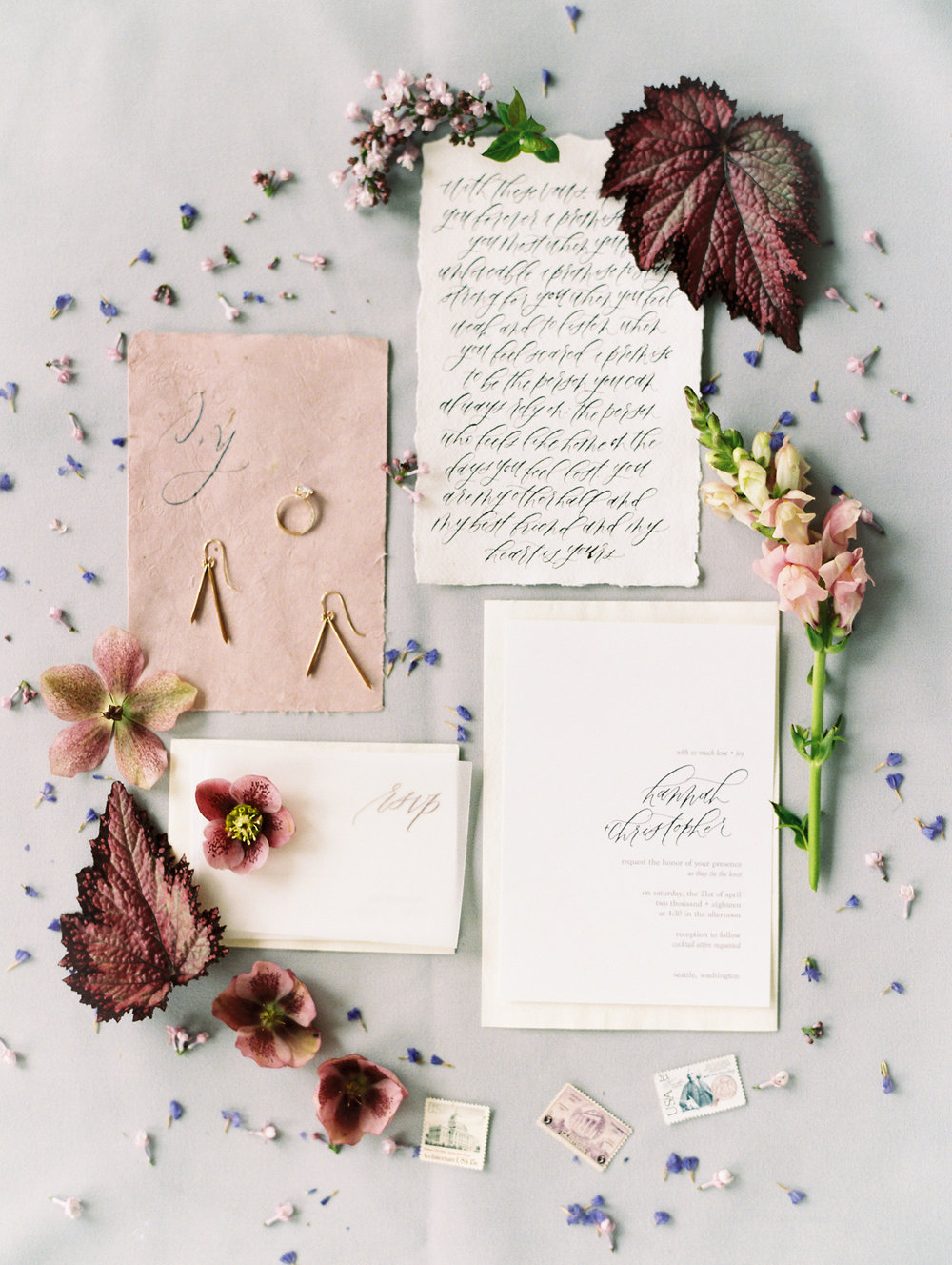 Dusty Rose Wedding Stationary