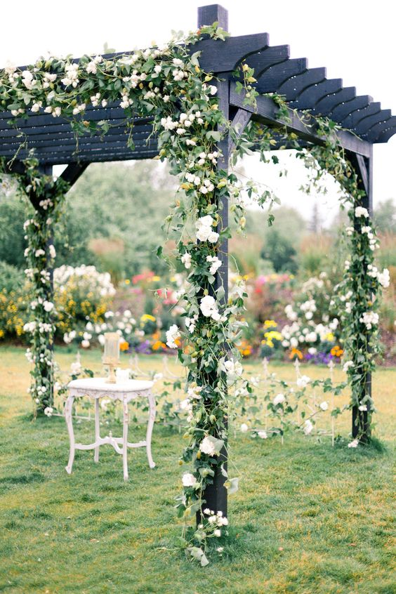 greenery wedding ceremony backdrop