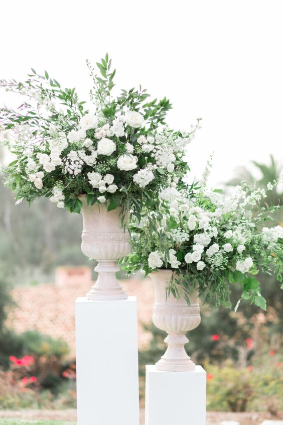 greenery floral arrangements wedding