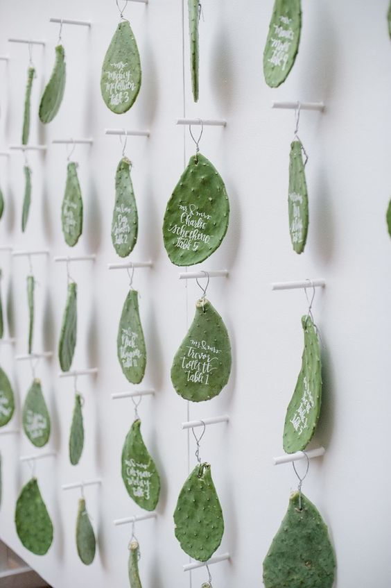 greenery escort cards wedding