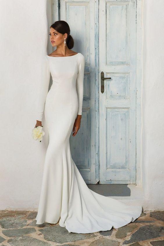 Justin Alexander Wedding Dress | Long Sleeve Wedding Dress | Simple Wedding Dresses