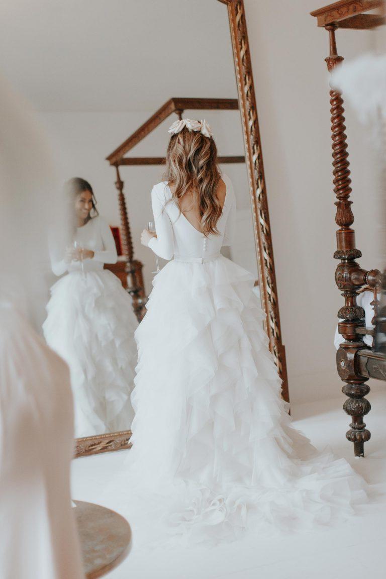 Halfpenny London Wedding Dress | Feathered Skirt Wedding Dress | Winter Wedding Dress